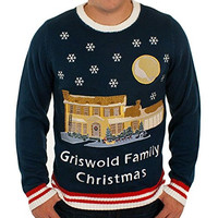 Christmas Vacation Lighted Griswold House Sweater in Blue By Festified (X-Large)
