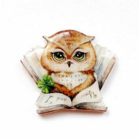 Free shipping owl brooch pin owl jewelry animal jewelry Owl and book , Animal brooch clay owl, gifts under 25 (0014)