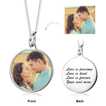 """We're Meant For Each Other -  Personalized Color Photo &Text Necklace Adjustable 16""""-20""""- 925 Sterling Silver"""