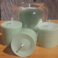 frosty green unscented soy votive candles, vegan soy candles ready to ship!
