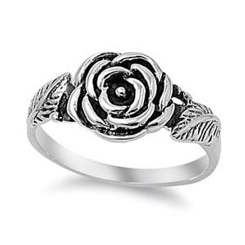 Sterling Silver Rose Flower with Leaves Ring