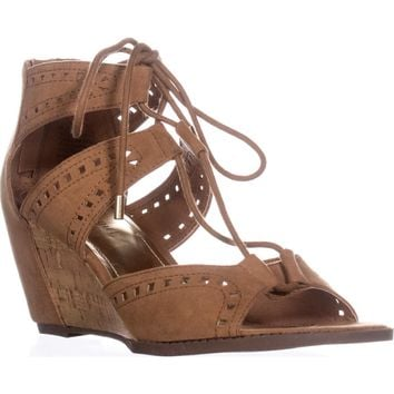 madden girl Rally Lace Up Wedge Sandals, Chestnut, 10 US