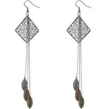 Silver Tricolor Filigree Caged Leaf Chain Earrings