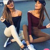 Winter Hot Sale Sexy Strapless Long Sleeve T-shirts [31300550682]