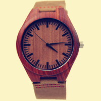 YAN & LEI Bamboo Watch with Leather Belt Red Wooden Look
