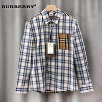 BURBERRY hot seller for men's and women's casual plaid printed long-sleeved shirts