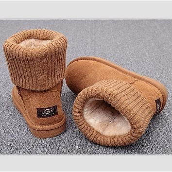 UGG fashion winter men and women curled plush leather boots Brown