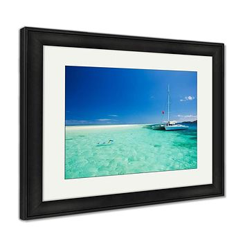 Framed Print, Snorkeling In Shallow Tropical Water Off The Catamaran
