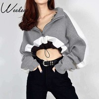 Weekeep Sexy Cropped Turtleneck Sweatshirt for Women Patchwork Long-sleeved Pullovers Hoodies Gray Adjustable Knitted Crop Top