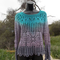 Ombre Turquoise and Grey Hand Dyed Crochet Long Sleeve Top