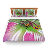 """Cathy Rodgers """"Pink and Green"""" Flower Lightweight Duvet Cover"""