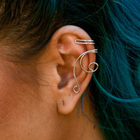 Silver Wire Swirl Ear Cuffs