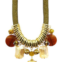 NECKLACE / CHUNKY BEAD / BIB / LUCITE RING / METALLIC FINISH / MICRO BEAD / MESH / 16 INCH LONG / 3 INCH DROP / NICKEL AND LEAD COMPLIANT