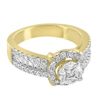 Designer Round Cut Solitaire Iced Out 925 Silver 14k Gold Finish Wedding Ring