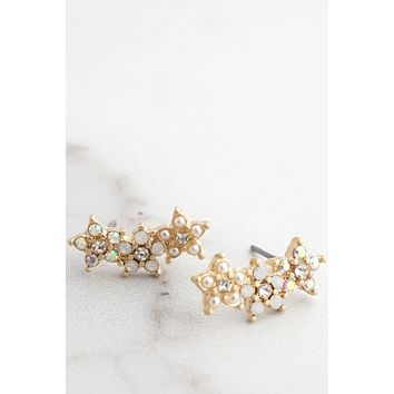 Flower Crowler Earrings Gold