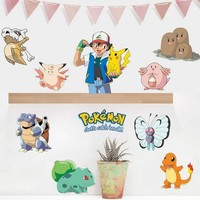 100Set  Wall Stickers for Kids Rooms Home Decorations Pikachu Wall Decal Amination Poster Wall Art Wallpaper KidsKawaii Pokemon go  AT_89_9