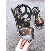 LV tide brand female cross straps flat fashion word buckle slippers