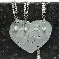 Heart Shaped Puzzle Necklaces Set of 4 Silver Polymer Clay with Swarovski Crystals or Pearls Made To Order