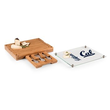 Cal Bears - Concerto Glass Top Cheese Cutting Board & Tools Set, (Bamboo)