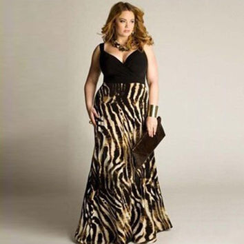 Women's Fashion Condole Belt V-neck Sexy Sleeveless Leopard Maxi Dress Plus Size(L-XXXXXL) WAY3115 = 5659502849