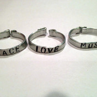 Peace, Love, Music Aluminum Silver-Tone Stackable Rings