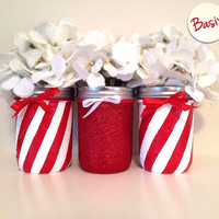 Christmas decor, Holiday decor, painted mason jars