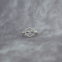 S925 Thai silver Hollow out twist hexagonal geometry ring,a simple perfect gift !