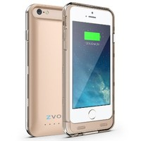 iPhone 6S Battery Case, iPhone 6 Battery Case, ZVOLTZ ZT6 Series Charger for iPhone 6/6s (4.7 Inches) [1-Yr WARRANTY] - [Champagne Gold /Clear] - 3100mAh [MFI Certified] - External Protective Case