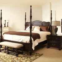 Paula Deen King Size Savannah Poster Bed - Tobacco Finish