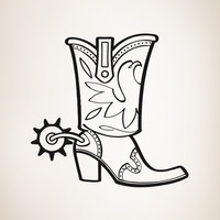 Vinyl Wall Decal Sticker Tall Cowboy Boots #OS_AA351