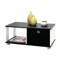 Simple Black & White Coffee Table with Bin Drawer