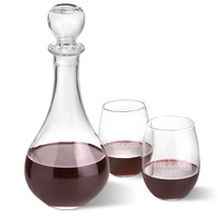 Wine Decanter with Two Stemless Wine Glasses