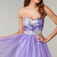 Short Strapless Purple Prom Dress