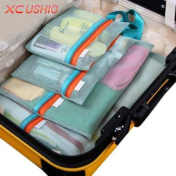 Thick Mesh Travel Toiletry Storage Bag Pouches 4 Piece Set