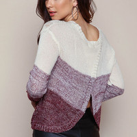 BURGUNDY OMBRE WRAP BACK SWEATER