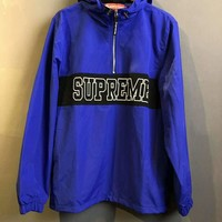 SUPREME Summer fashion new sun protection clothing with long sleeves zipper hooded windbreaker top jacket Blue