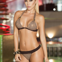 Bronze Banded Two-Piece Swimsuit