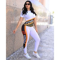 FENDI Summer Fashion Women Casual Print Short Sleeve Top Pants Set Two-Piece Sportswear White