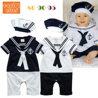 navy style baby romper suit kids boys girls rompers+hat set