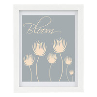 Bloom, Flowers Print, Typography Print, Modern Home Decor, Floral Print, Spring Home Decor, Silhouette Flowers, Gardeners Gift, 8 x 10 Print