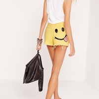 Missguided - Smiley Face Denim Shorts Yellow