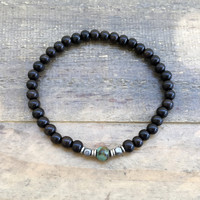 "Ebony and African Turquoise ""Strength and Change"" Unisex Bracelet"