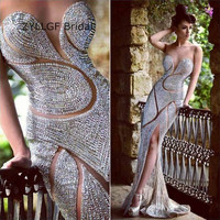 ZYLLGF Bridal Sexy Mermaid Sweetheart Long Evening Gowns Full Beaded Luxury Evening Dress Turkey Side Slit Prom Dress DR52