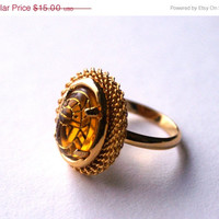 BLACK FRIDAY SALE Topaz Color Ring Vintage Glass Cabochon Adjustable Ring with Egyptian Scarab Design