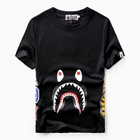 Bape Aape Summer Fashion New Shark Print Women Men Top T-Shirt Black