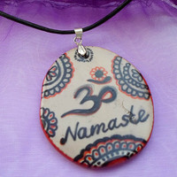 Om Namaste Necklace, Om Yoga Pendant, Namaste Yoga Polymer Clay Jewelry, Zen Spiritual Jewelry necklace, Hand painted Pendant Boho Jewelry