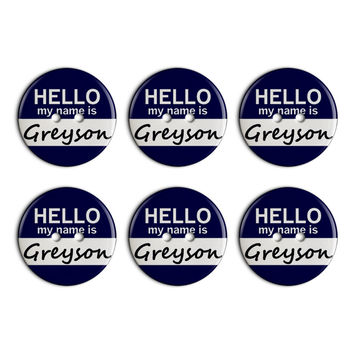 Greyson Hello My Name Is Plastic Resin Button Set of 6