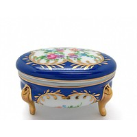 Vintage Victorian Antique Oval Jewelry Box Royal Blue
