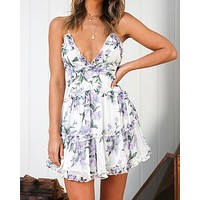 Attention Grabber Ruffled Trim Floral Print Mini Dress - White/Floral