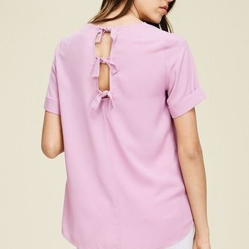 Lilac Cut Out Tie Back Blouse